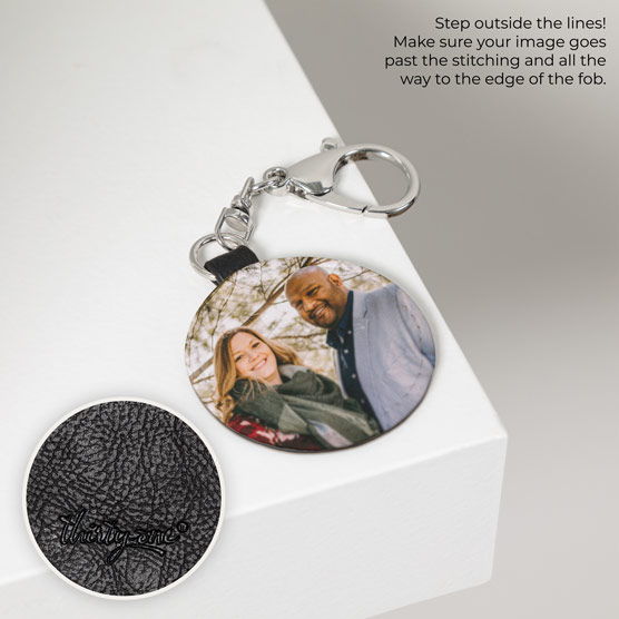 Photo Key Fob - Black Distressed Round