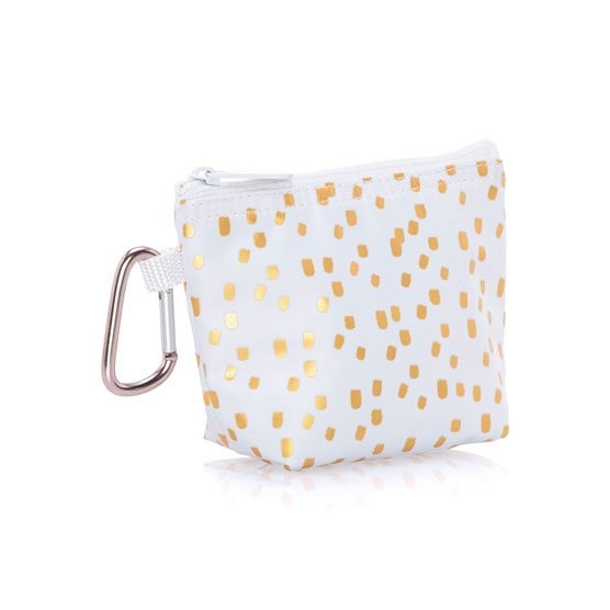 Mini Clip Pouch - Gold Metallic Dot