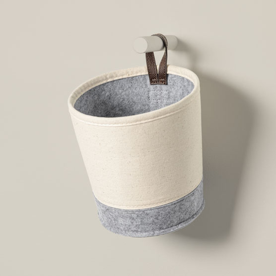 Felt Hanging Bin - Natural with Brushed Whisper Grey