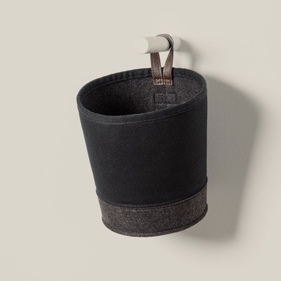 Felt Hanging Bin - Black with Brushed Graphite