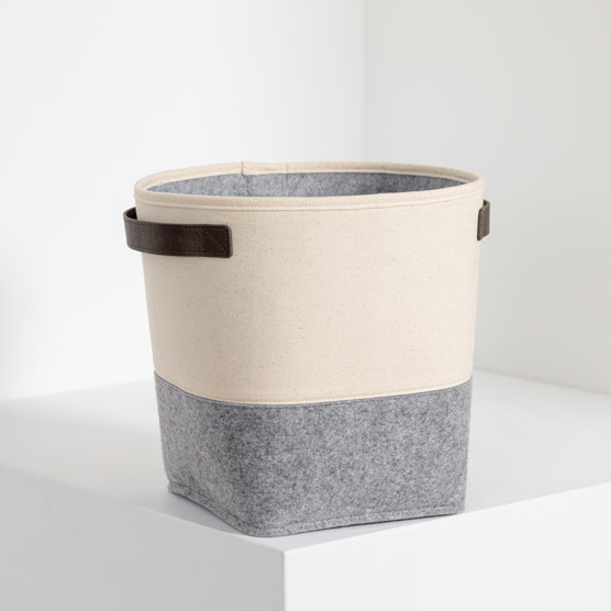 Felt Storage Bin - Natural with Brushed Whisper Grey