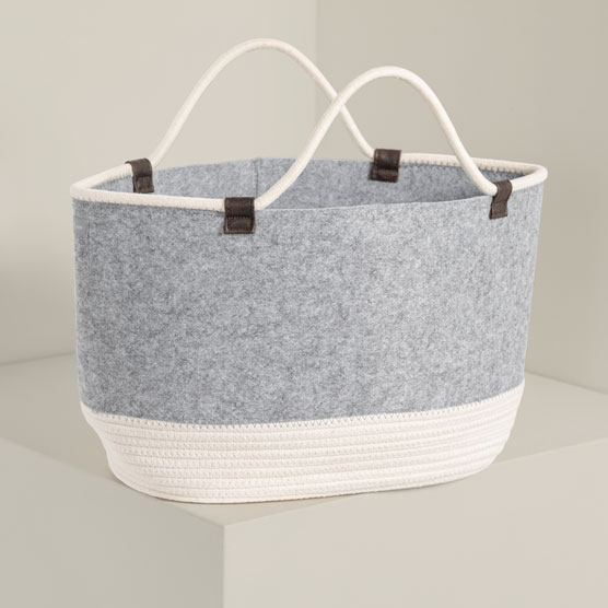 Felt Storage Tote - Brushed Whisper Grey with Rope
