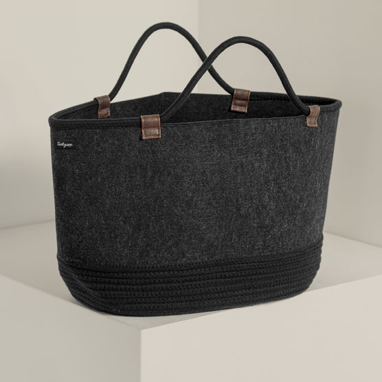 Felt Storage Tote - Brushed Graphite with Rope