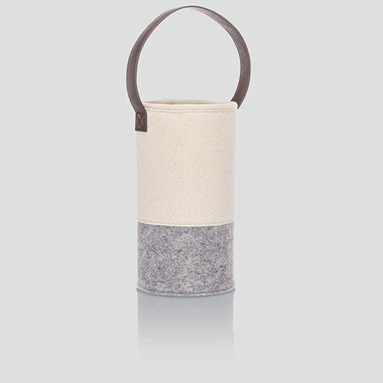 Felt Wine & Gift Bag - Natural with Brushed Whisper Grey