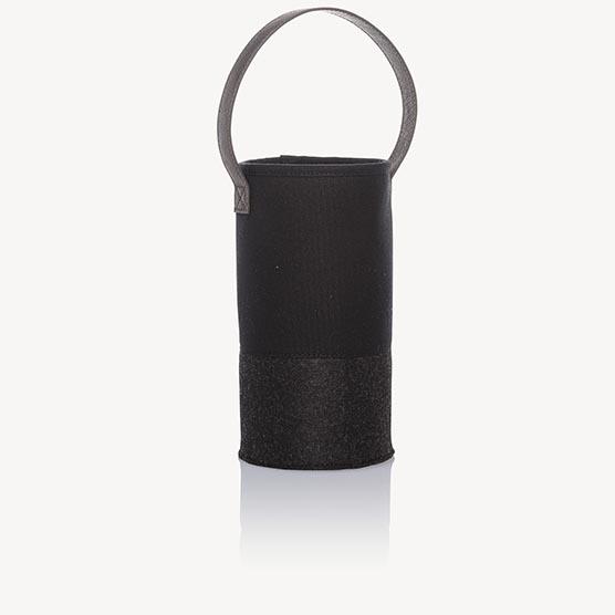 Felt Wine & Gift Bag - Black with Brushed Graphite