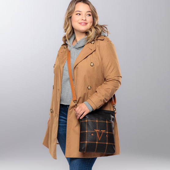 Organizing Shoulder Bag Ltd. - Caramel Windowpane Pebble