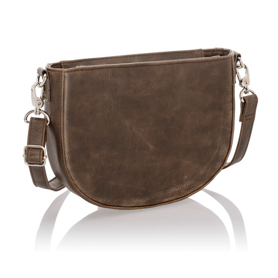 Half Moon Crossbody - Chestnut Distressed Pebble