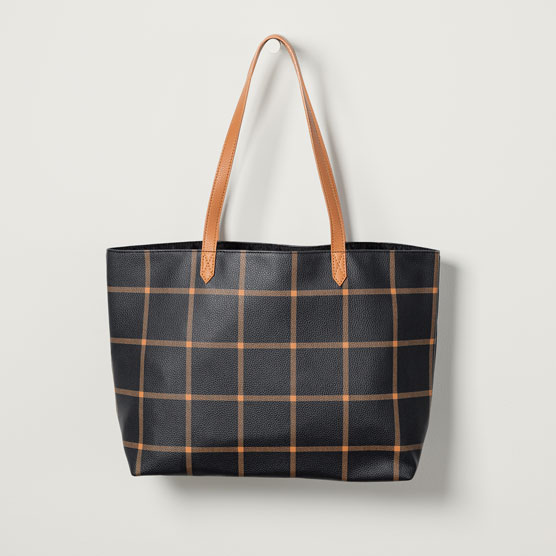 Modern Tote - Caramel Windowpane Pebble
