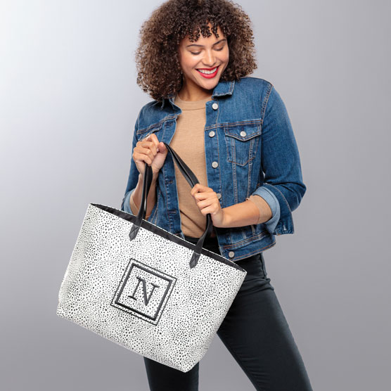 Modern Tote - Dainty Speckles Pebble