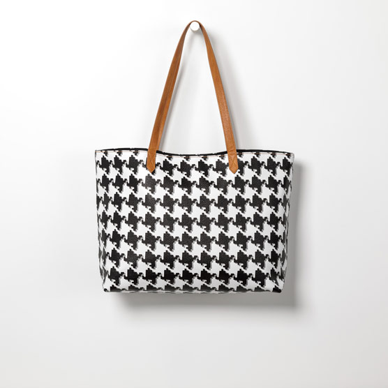 Modern Tote - Classic Houndstooth Pebble