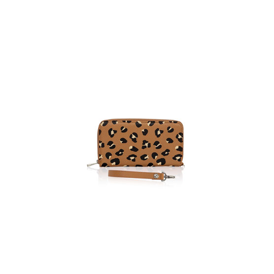 All About The Benjamins & Wristlet Strap - Lovely Leopard Pebble w/ Caramel Charm Pebble