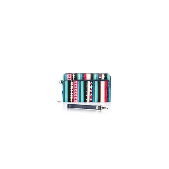 Perfect Cents Wallet & Wristlet Strap - Southwest Stripe w/ Midnight Navy Pebble