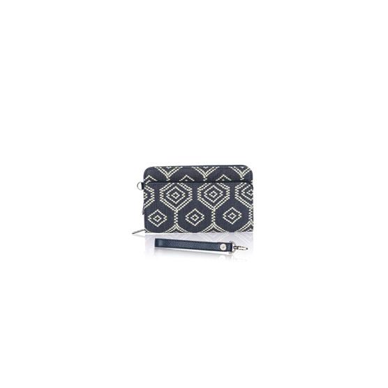 Perfect Cents Wallet & Wristlet Strap - Dotty Hexagon w/ Midnight Navy Pebble