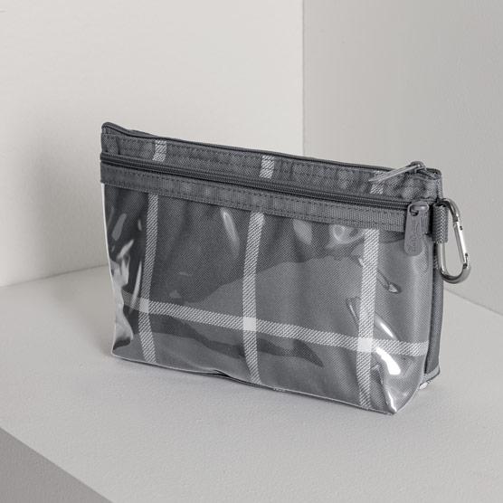 Clear Clip Pouch - Windowpane Plaid