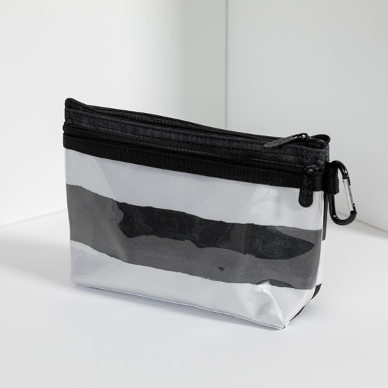 Clear Clip Pouch - Watercolor Stripe