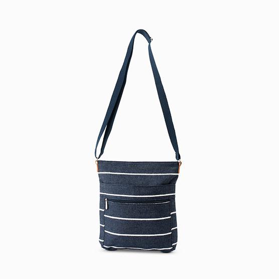 Organizing Shoulder Bag - Navy Wide Stripe