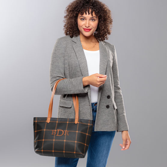 City Scene Bag - Caramel Windowpane Pebble