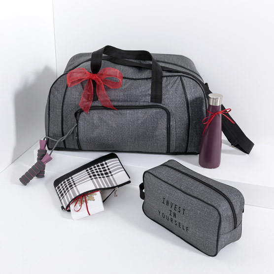 P.S. Work It Out Gift Set - Charcoal Crosshatch