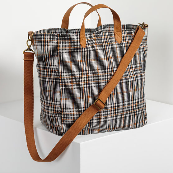 Casual Crossbody Tote - Plaid About You Weave