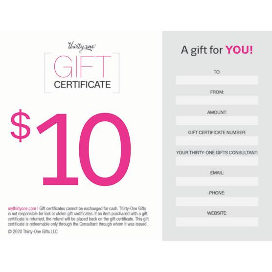 *Gift Certificate--10 dollars