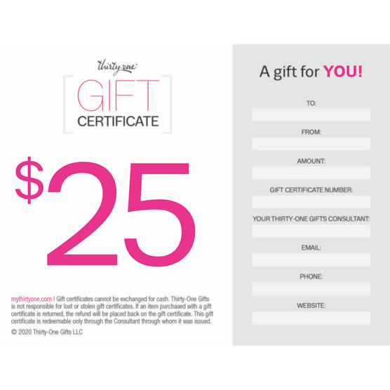 *Gift Certificate--25 dollars